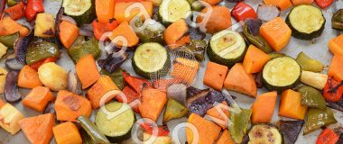 Roast vegetables by Sarah Doow at Shutterstock