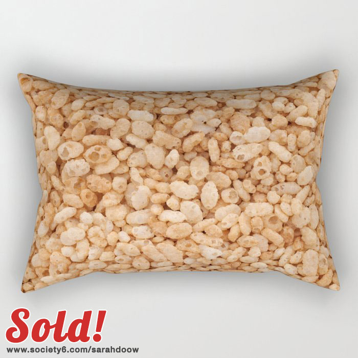 Crisped rice cereal rectangular pillow